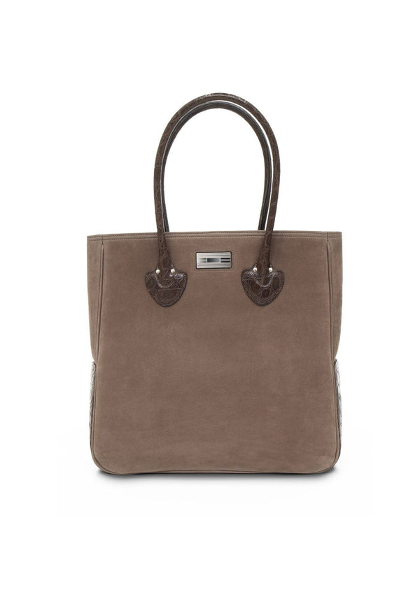Light Brown Suede and Brown Crocodile Trim Essex Monogram Tote - Darby Scott