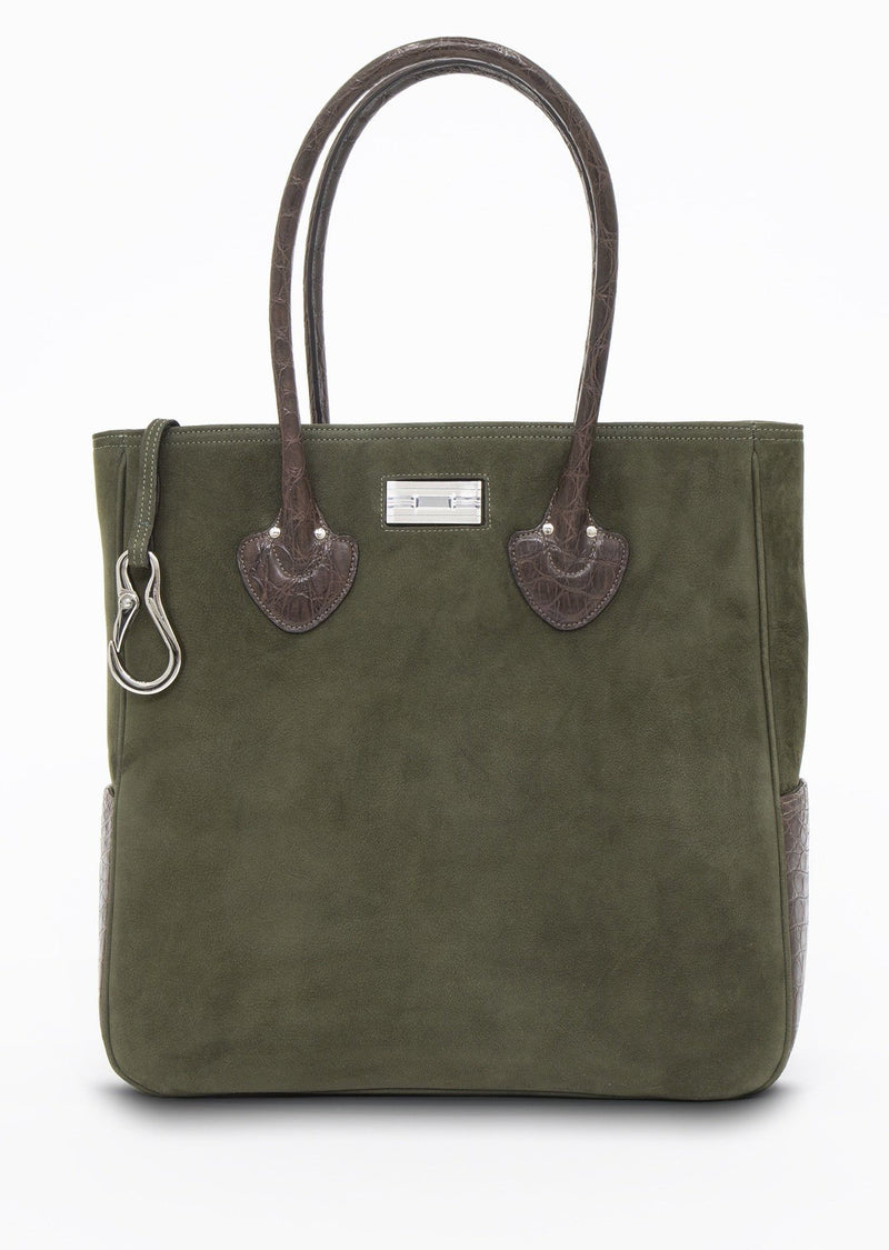 Olive Suede Essex Tote with key fob and sterling monogram plate - Darby Scott