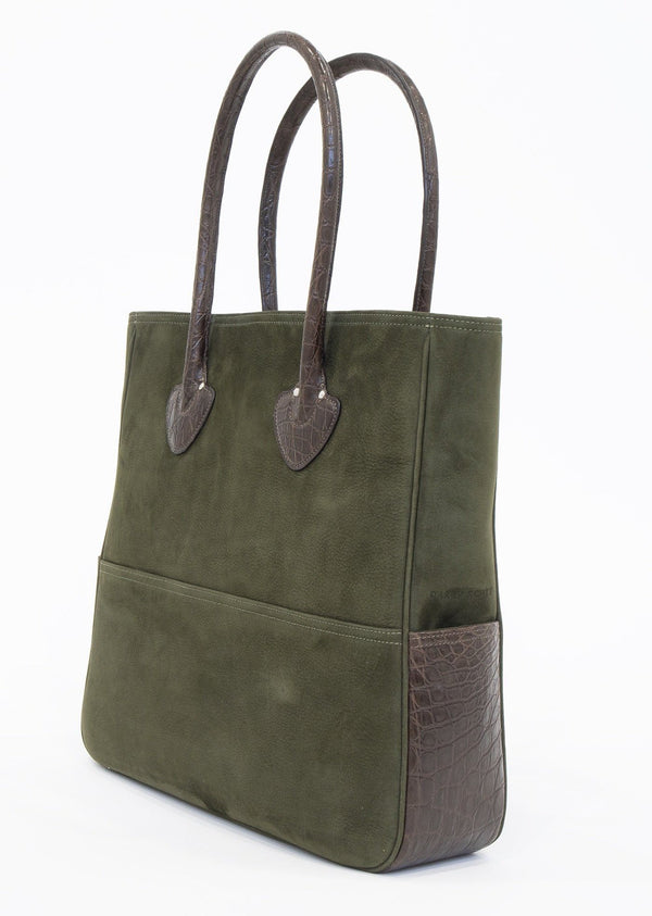 Back view of Olive Suede & Brown Crocodile Essex Tote - Darby Scott  --alternate