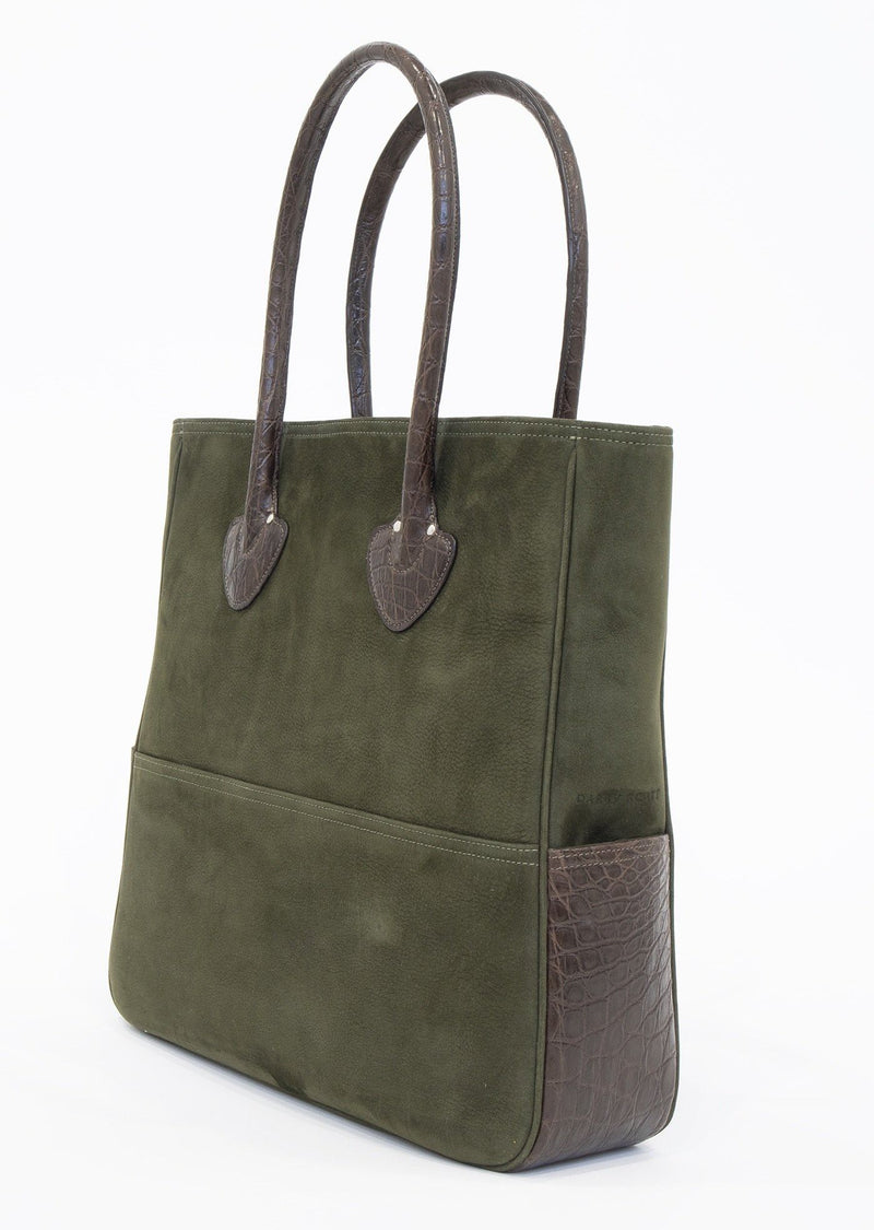 Back view of Olive Suede & Brown Crocodile Essex Tote - Darby Scott