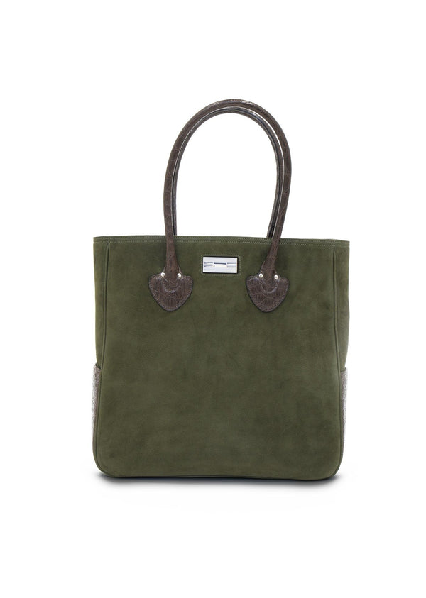 Olive Suede & Brown Crocodile Essex Monogram Tote - Darby Scott