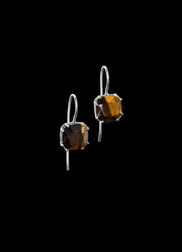 Tiger Eye 12MM Cushion Cut Sterling Silver Earrings - Darby Scott
