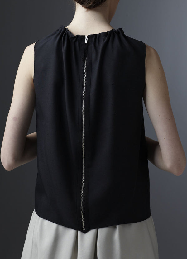 Back zipper on black silk sleeveless shell - Darby Scott--alternate