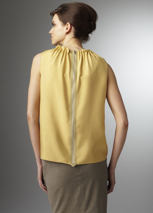 Back zipper on gold silk sleeveless shell - Darby Scott--alternate