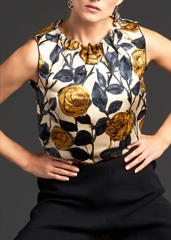 Navy and Gold Rose Print Silk Charmeuse Sleeveless Shell - Darby Scott