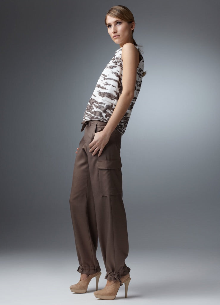 Animal Print Silk Shell with Brown Cargo Pants - Darby Scott