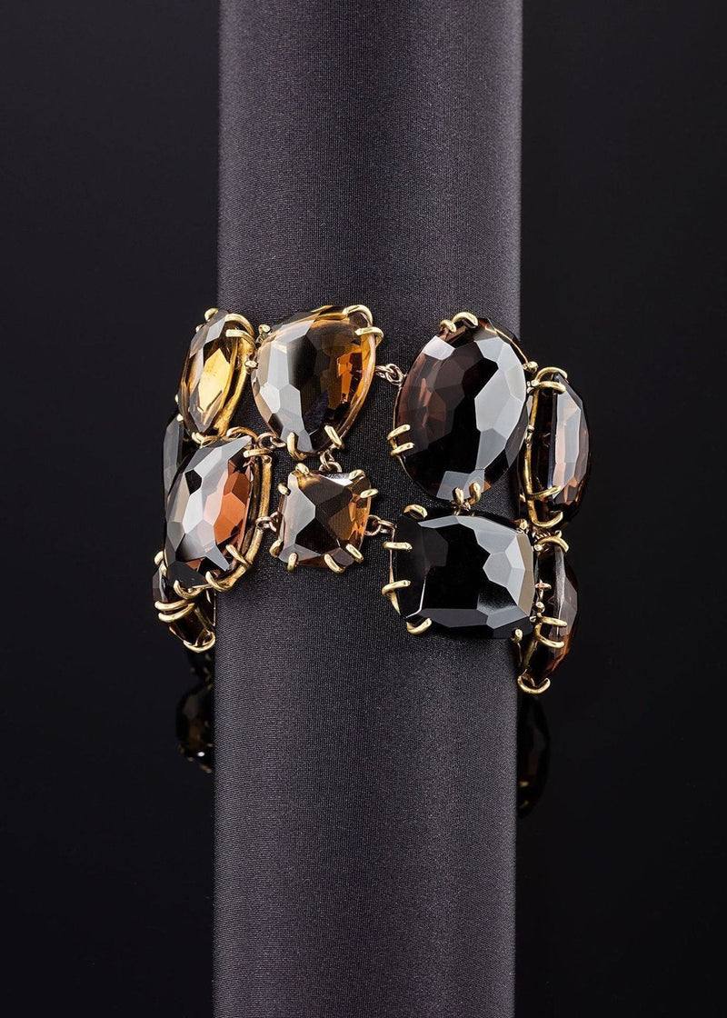 Faceted smokey topaz gemstones prong set in gold plated brass bracelet - Darby Scott