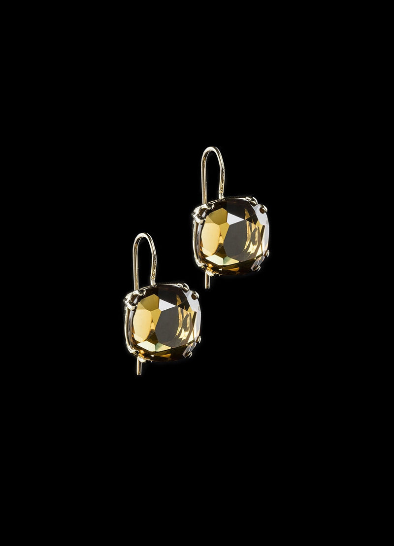 Topaz 14K Yellow Gold Earrings - 12MM Cushion Cut - Darby Scott