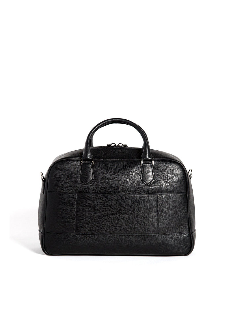 Back view of Black Leather Newport Getaway Bag - Darby Scott