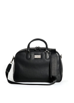 Black Leather Newport Getaway Bag with Sterling Monogram Plate - Darby Scott