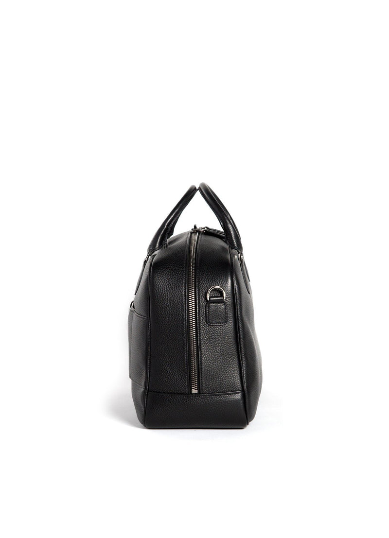 Side view of Black Leather Newport Getaway Bag - Darby Scott