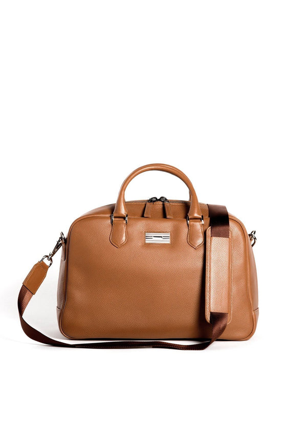Cognac Leather Newport Getaway Bag with Sterling Monogram Plate - Darby Scott