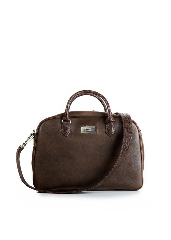 Dark Brown Leather & Crocodile Monogram Newport Getaway Bag - Darby Scott