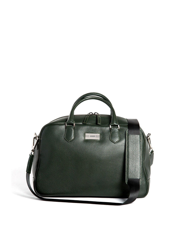 Dark Green Leather Newport Getaway Bag with Sterling Monogram Plate - Darby Scott