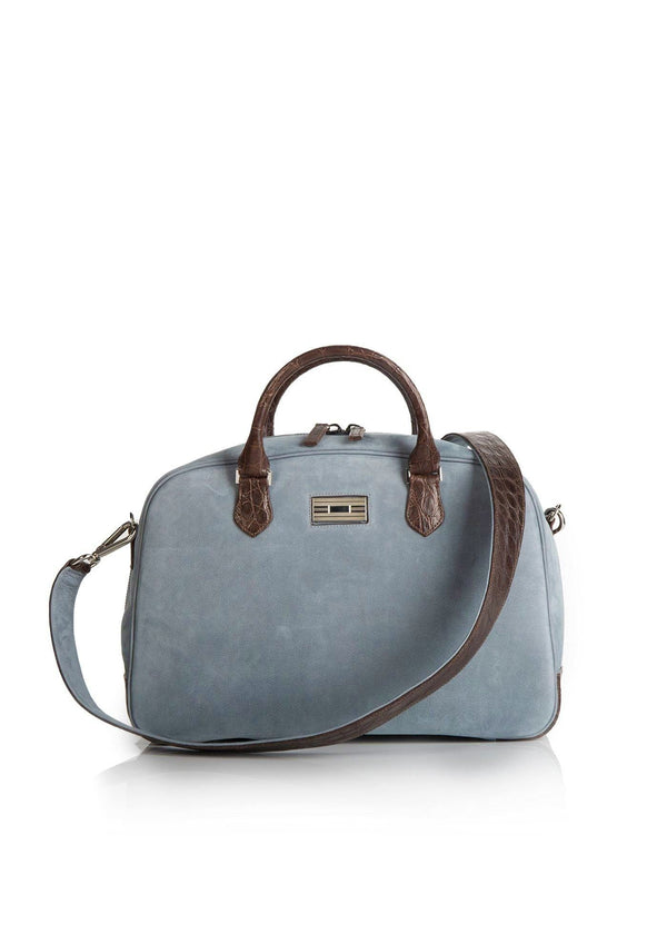 Denim Suede and Brown Crocodile Monogram Newport Getaway Bag - Darby Scott