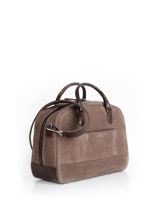 Back view of Newport Getaway Bag in Light Brown Suede - Darby Scott--alternate