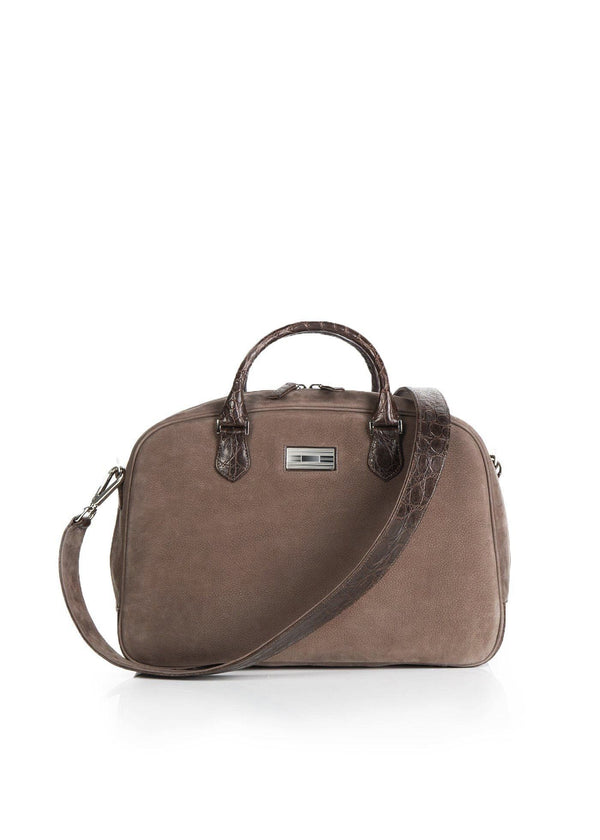 Light Brown Suede & Crocodile Monogram Newport Getaway Bag - Darby Scott