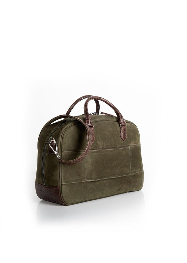Back view Olive Suede & Brown Crocodile Newport Getaway Bag - Darby Scott--alternate