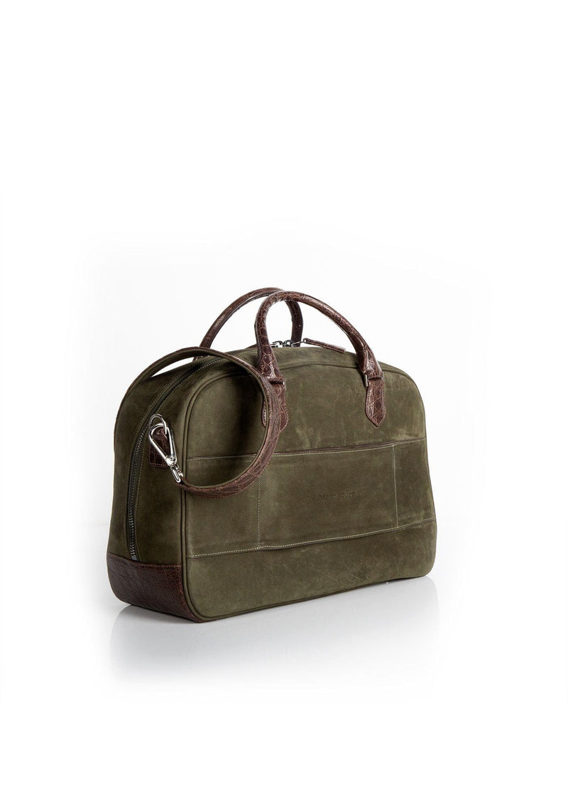 Back view Olive Suede & Brown Crocodile Newport Getaway Bag - Darby Scott