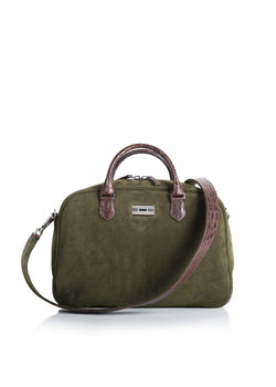 Olive Suede & Brown Crocodile Monogram Newport Getaway Bag - Darby Scott