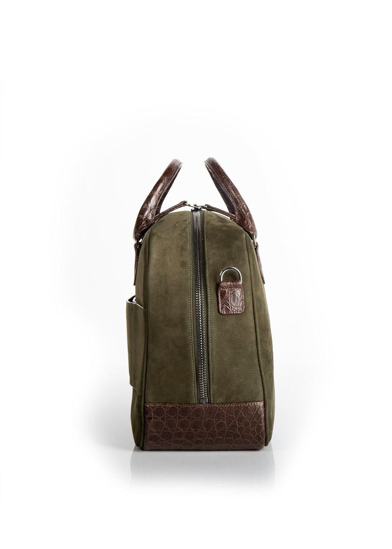 Side view Olive Suede & Brown Crocodile Newport Getaway Bag - Darby Scott