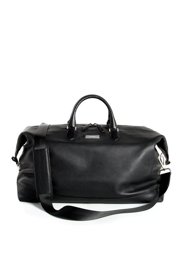 Black Pebble Leather Aspen Travel Duffle Bag- Darby Scott