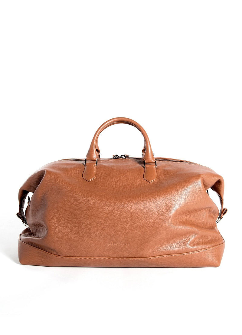 Cognac Leather Aspen Travel Bag back view - Darby Scott