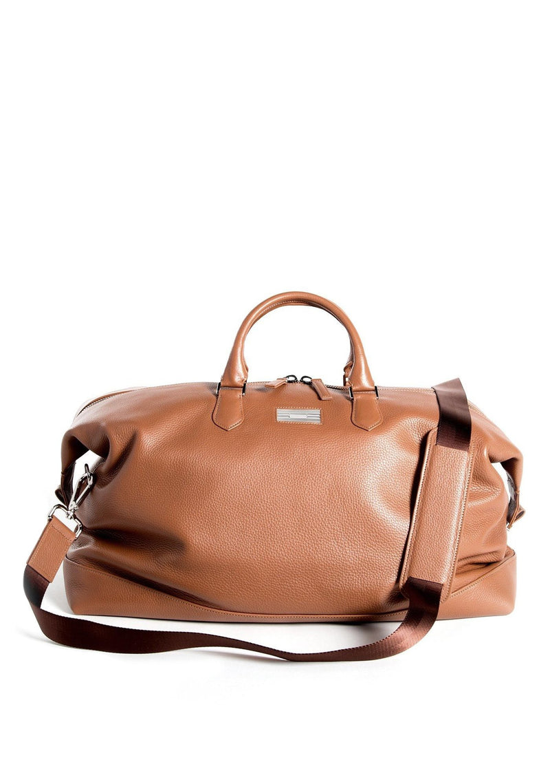 Cognac Pebble Leather Aspen Travel Duffle Bag - Darby Scott
