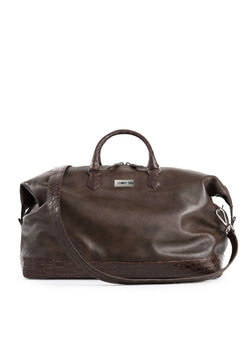 Aspen Travel Bag in Brown Leather & Crocodile - Darby Scott