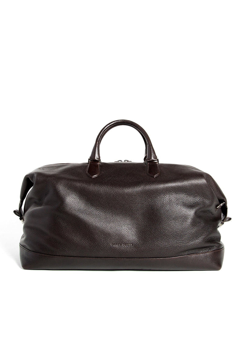 Brown Pebble Leather Aspen Duffle Travel Bag Back View - Darby Scott