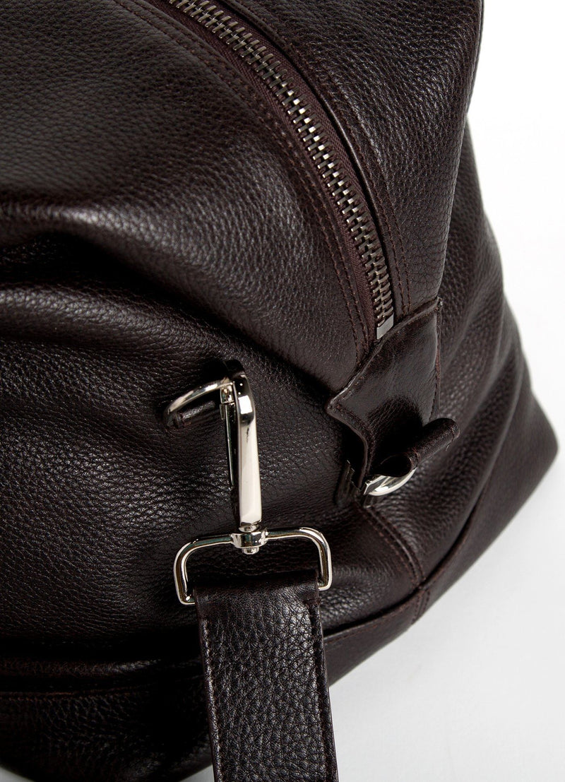 Close Up of Strap Link on Brown Leather Aspen Travel Bag - Darby Scott