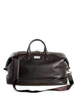 Leather Aspen Duffle Travel Bag with Monogram Plate- Darby Scott