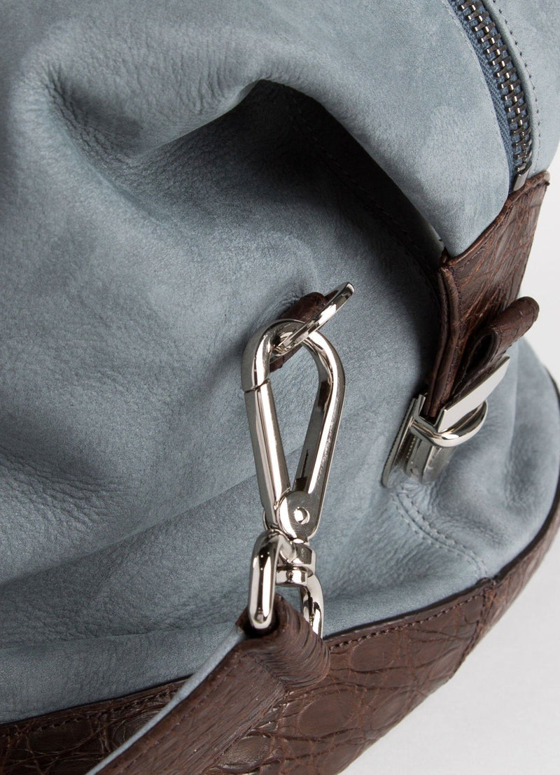 Detail of strap link on Denim Aspen Travel Bag- Darby Scott