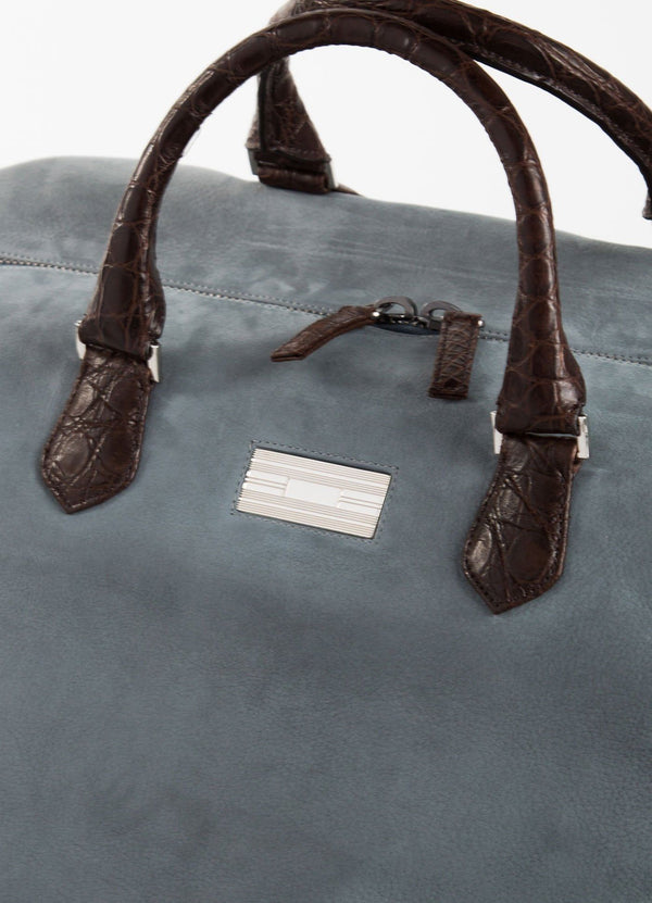 Close Up of Sterling Silver Monogram Plate on Aspen Travel Duffle Bag  - Darby Scott--alternate