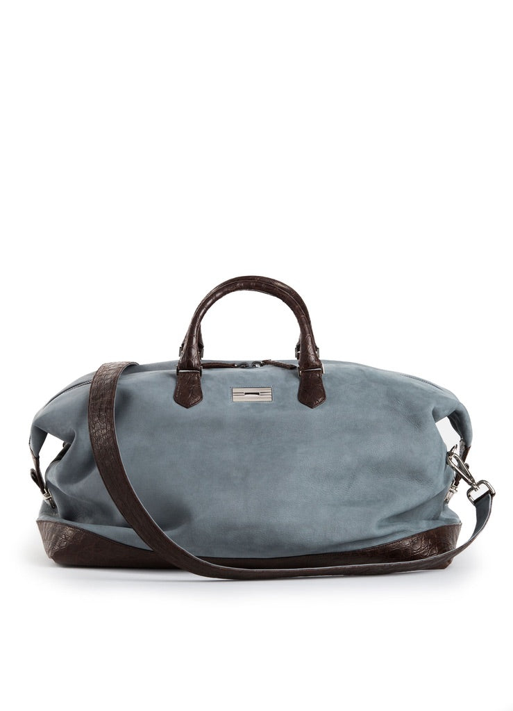 Denim Blue Suede Aspen Travel Bag with Brown Crocodile Trim and Strap - Darby Scott