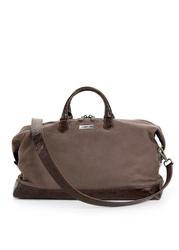 Light Brown Suede Aspen Travel Bag with Brown Crocodile - Darby Scott