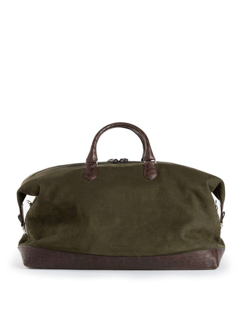 Olive Aspen Travel Bag With Brown Crocodile back view - Darby Scott