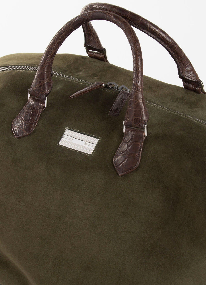 Close Up Sterling Monogram Plate on Olive Aspen Travel Bag With Brown Croc - Darby Scott