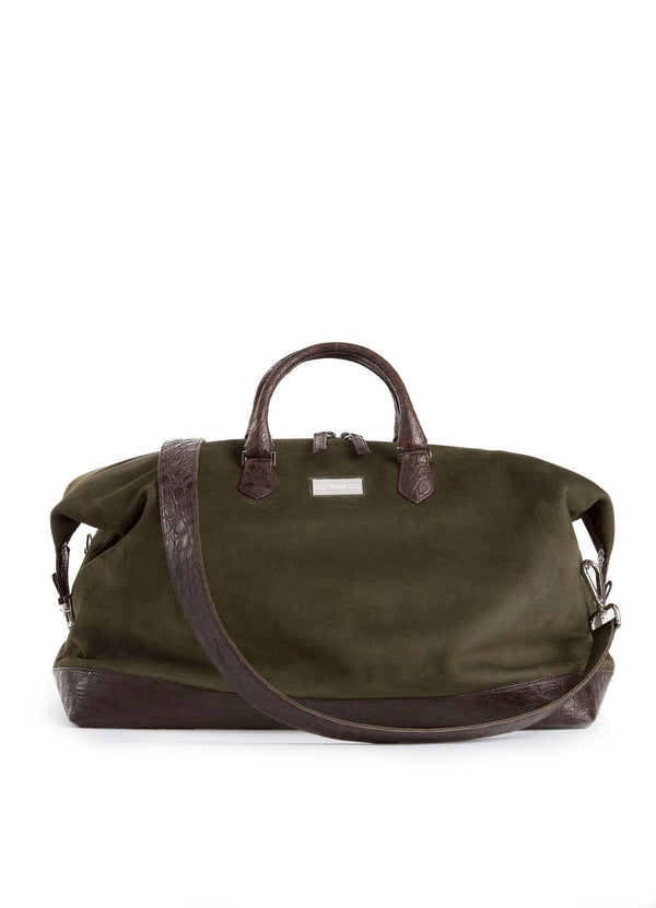 Aspen Travel Bag Olive Sueded Leather & Brown Crocodile- Darby Scott