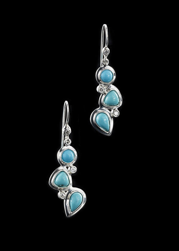 Turquoise diamond sterling earring mosaic 3 stone - Darby Scott