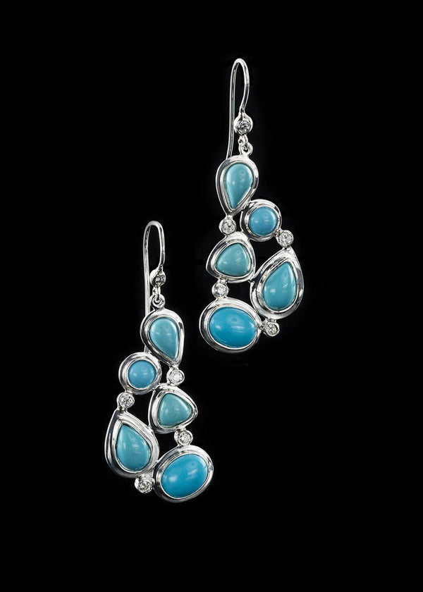 Turquoise diamond sterling earring mosaic 5 stone - Darby Scott