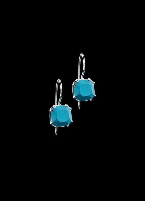 Turquoise 12MM Cushion Cut Earrings in Sterling Silver - Darby Scott