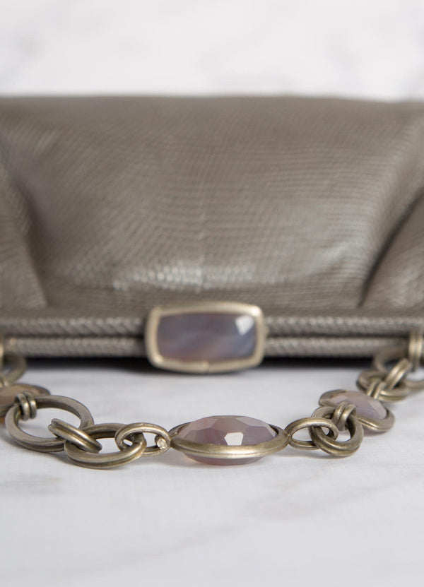 Silver Lizard Chain & Jewel Handbag, Lay-down view of top lock - Darby Scott--alternate