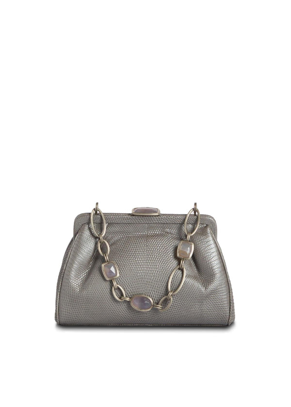 Silver Lizard Chain & Jewel Mini Handbag, Front View - Darby Scott