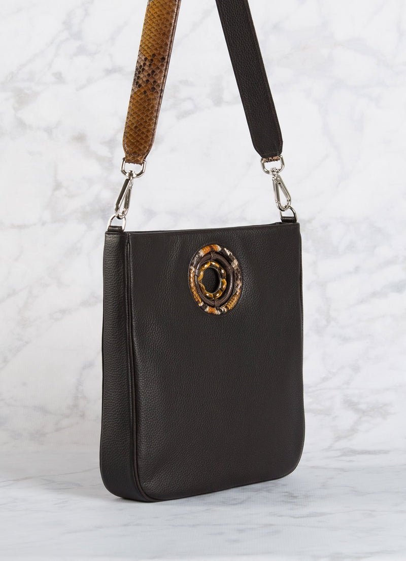 side view of chocolate leather Cloe Cross Body Tote- Darby Scott