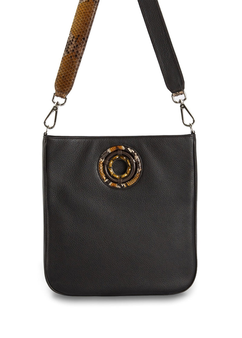 front view of chocolate leather Cloe Cross Body Tote- Darby Scott