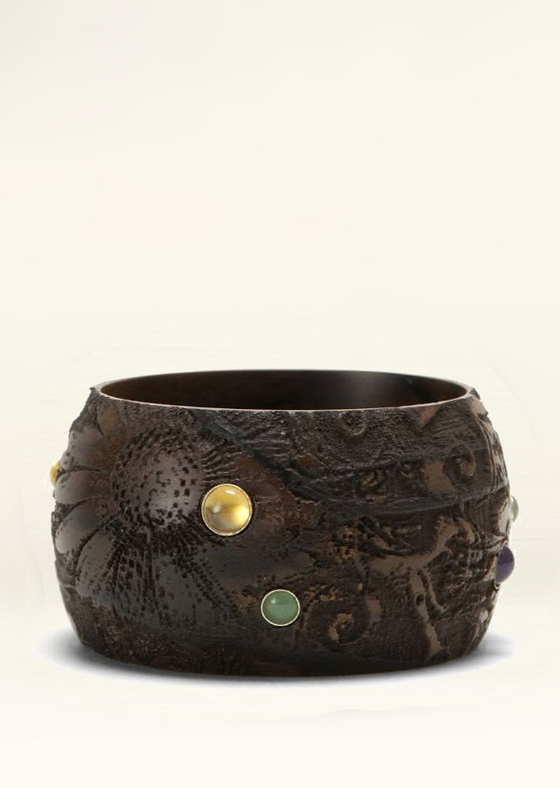 Floral Etchings on Tropical Wood Bangle with Gemstones - Darby Scott