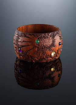Floral Etchings and Gemstones Tropical Wood Bangle - Darby Scott