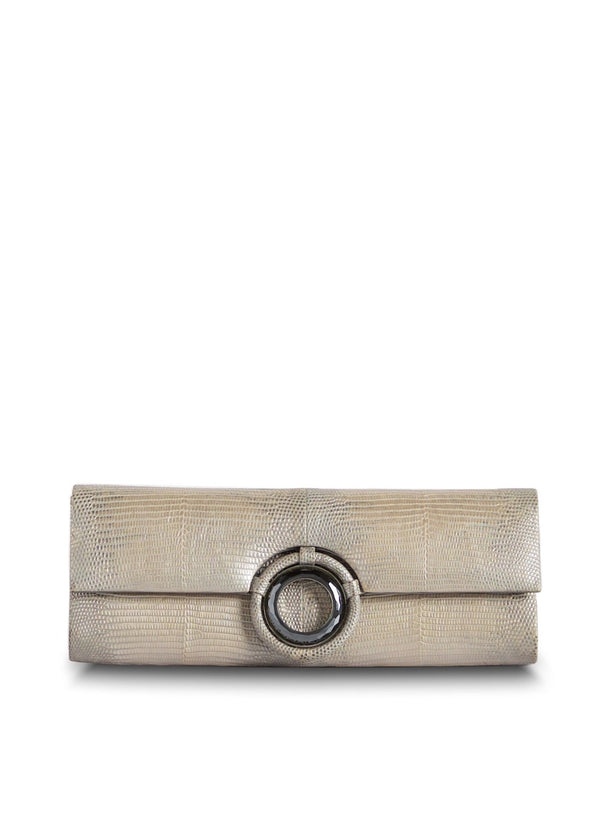 Pale Gold Ring Lizard Roll Clutch with Labradorite Grommet Inlay - Darby Scott