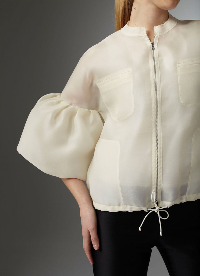 Organza Bomber Jacket deep side pockets and welt top pockets - Darby Scott